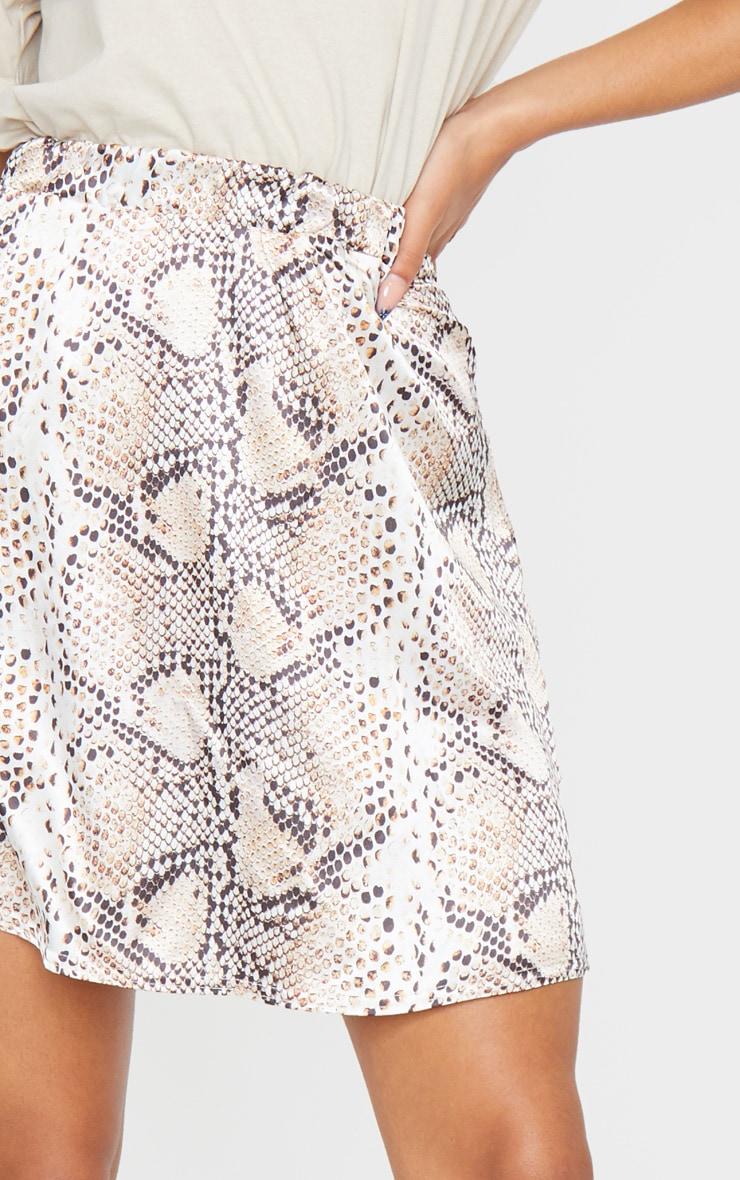 Tan Snake Print Satin Skater Skirt 5