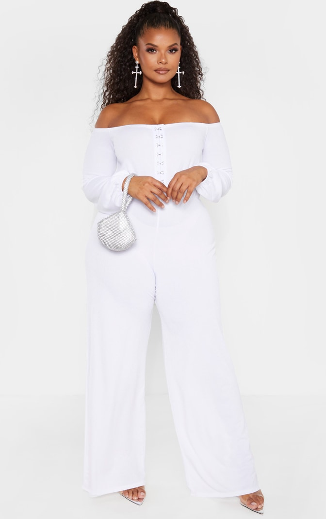 Plus White Eyelet Detail Wide Leg Jumpsuit  4