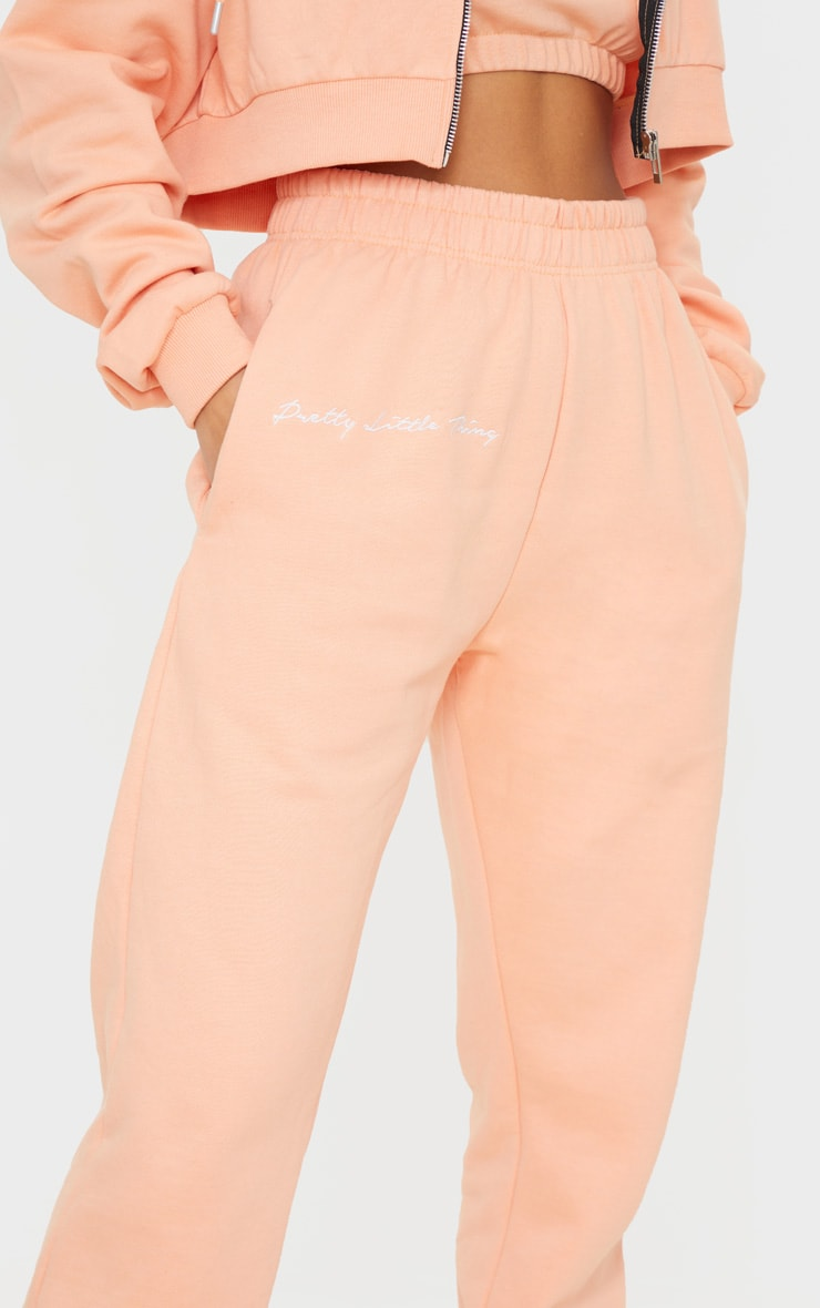 PRETTYLITTLETHING Petite Peach Embroidered Oversized Jogger 4