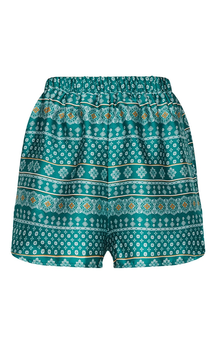 Petite Green Printed Runner Shorts 3