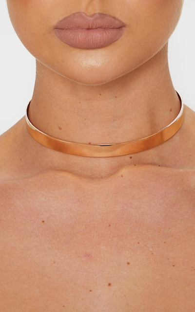 Gold Solid Bar Slim Choker