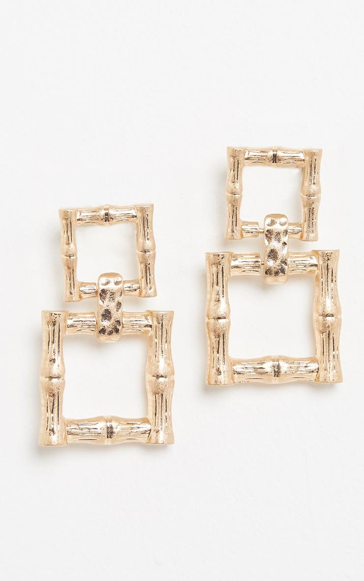 Gold Bamboo Double Square Drop Door Knocker Earrings 2