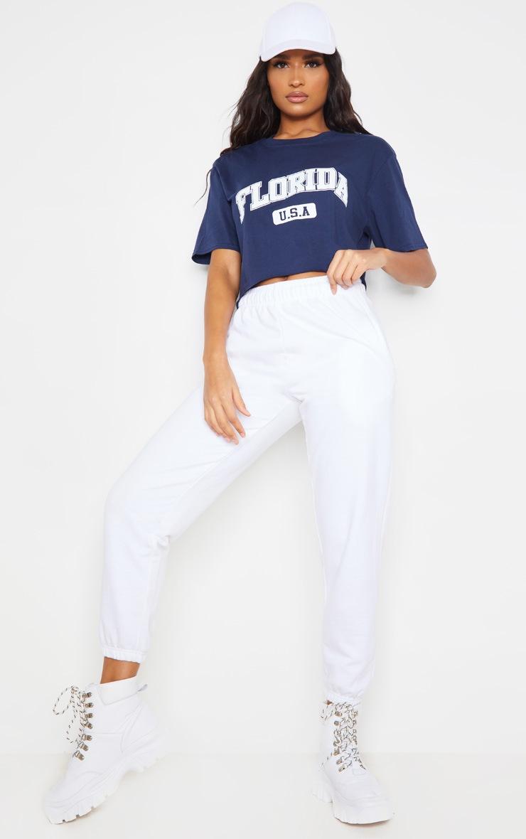Navy Florida USA Crop T Shirt 3