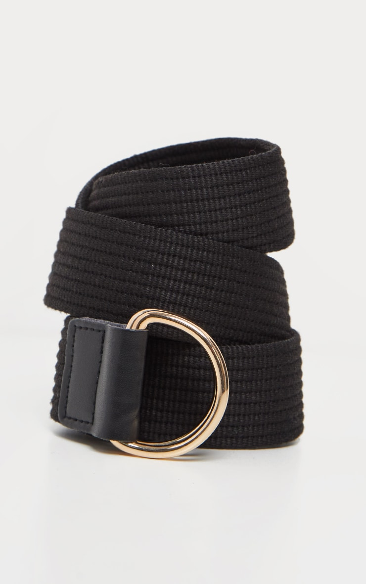Black Ribbed Webbing Belt 2