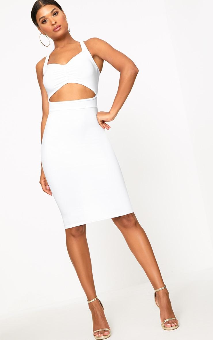 White Halterneck Midi Dress 4