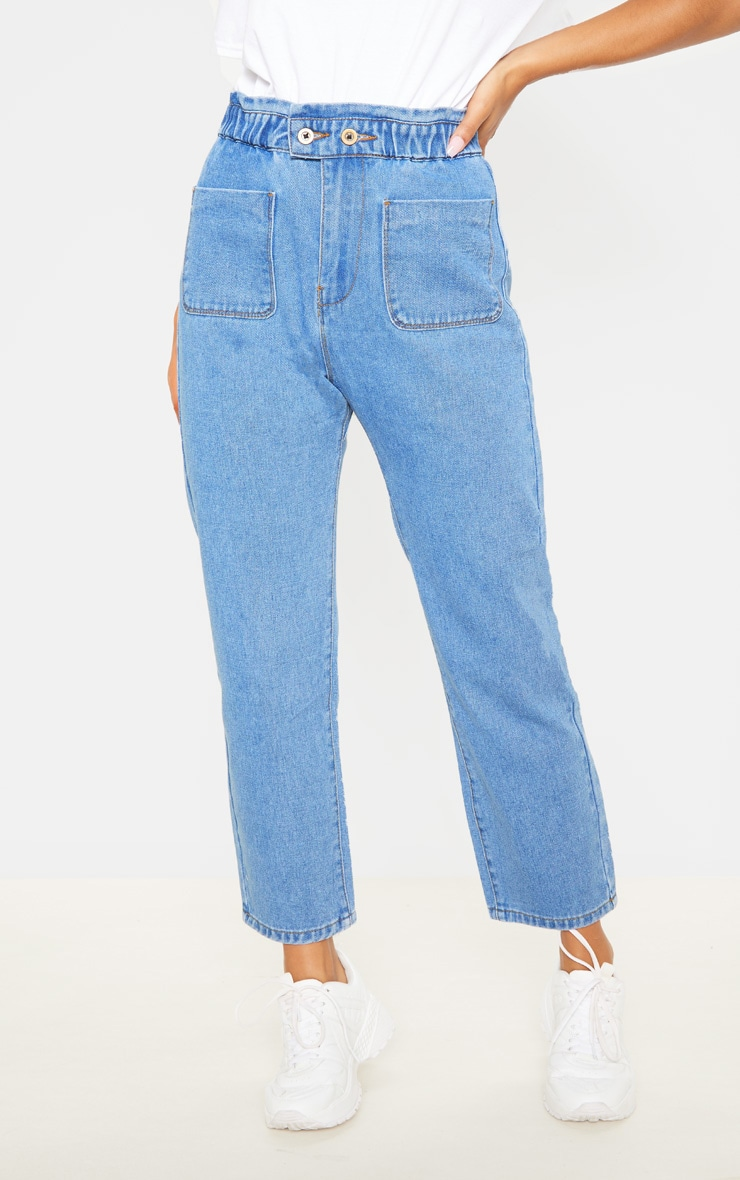 Mid Wash Ruched Waistband Button Detail Baggy Mom Jeans 2