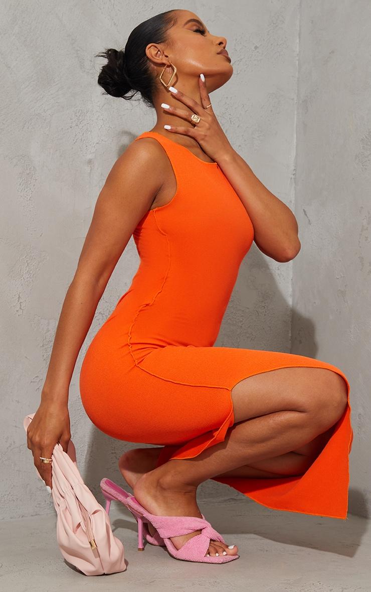 Orange Rib Scoop Neck Slit Side Midaxi Dress 3