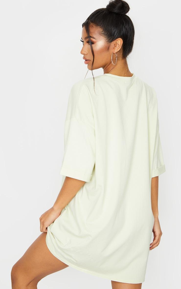 Light Lime Oversized Boyfriend T Shirt Dress 2