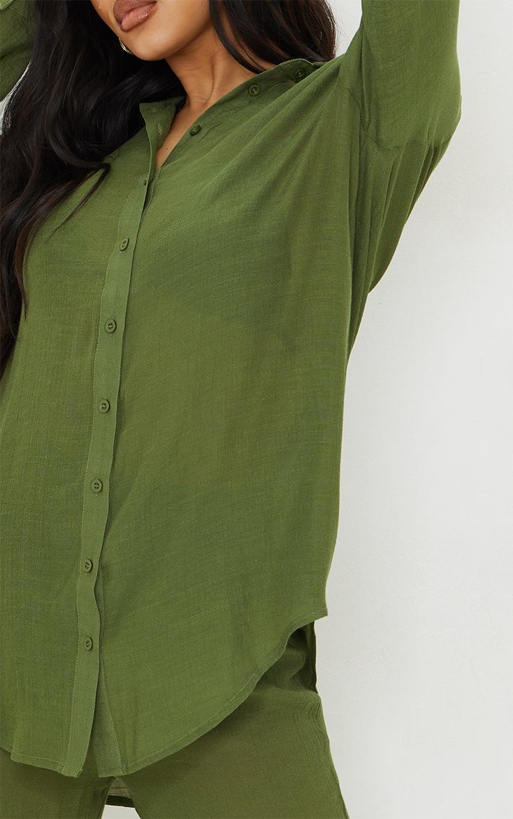 Khaki Linen Look Beach Shirt 4