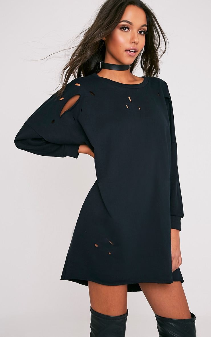 Emilia Black Distressed Raw Edge Sweater Dress 4