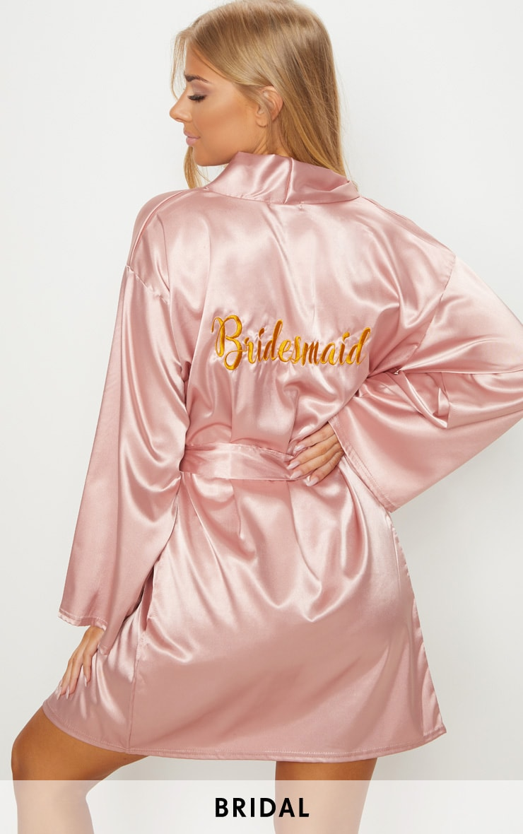 Pale Pink Bridesmaid Embroidered Back Satin Robe 1