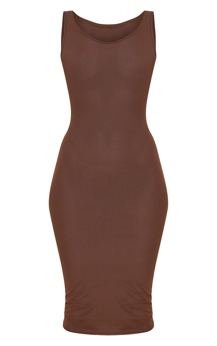 Chocolate Power Mesh Sleeveless Midi Dress 5
