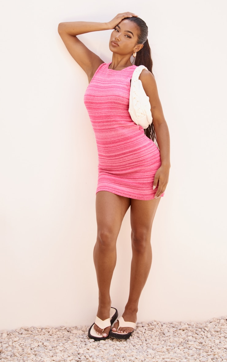 Pink Knitted Two Tone Racer Neck Mini Dress 3