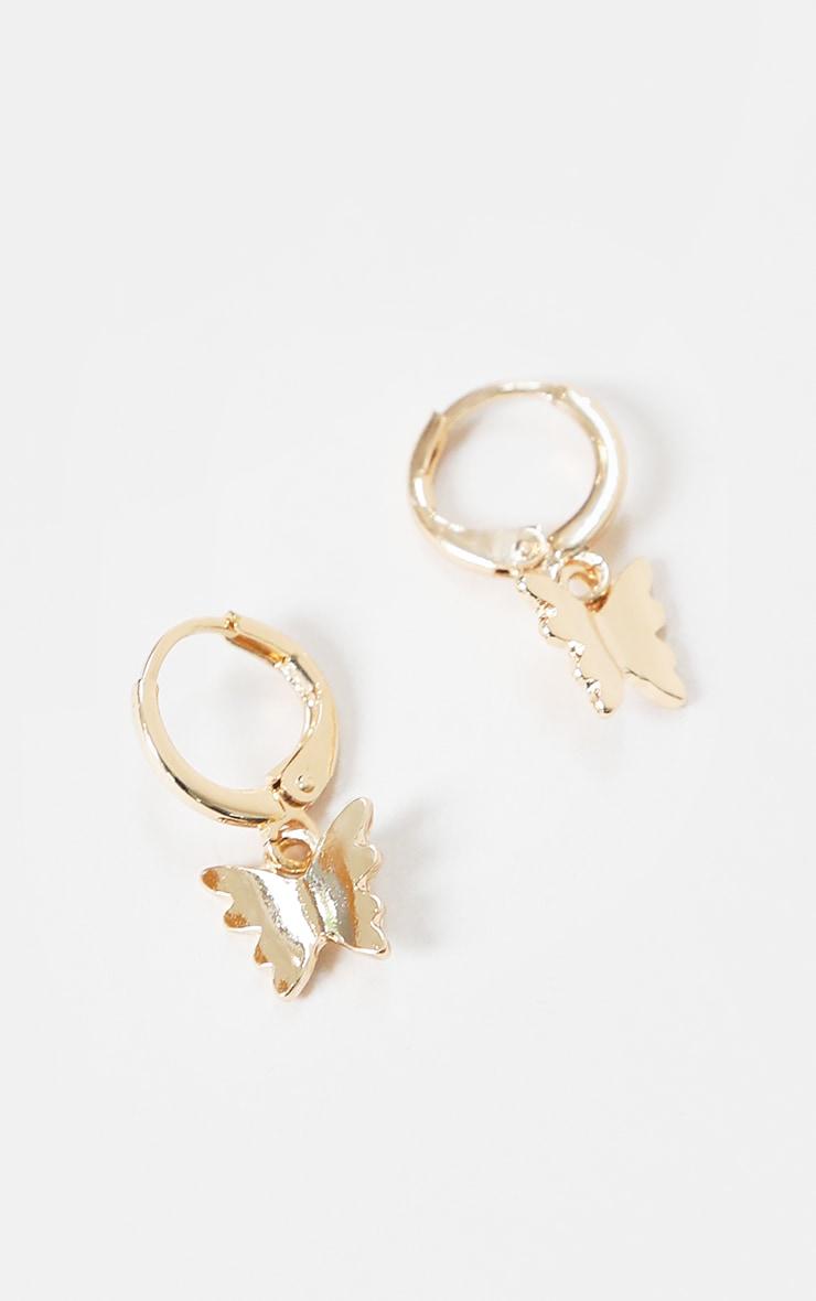 Gold Mini Butterfly Hoop Earrings 3