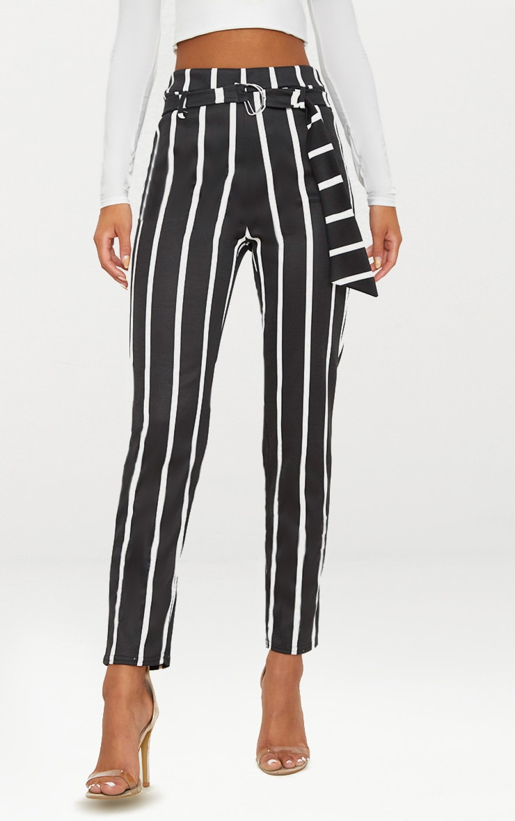Black Monochrome Stripe Belted Cigarette Trouser 2