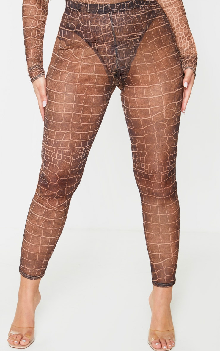 Brown Croc Print Mesh Leggings 2