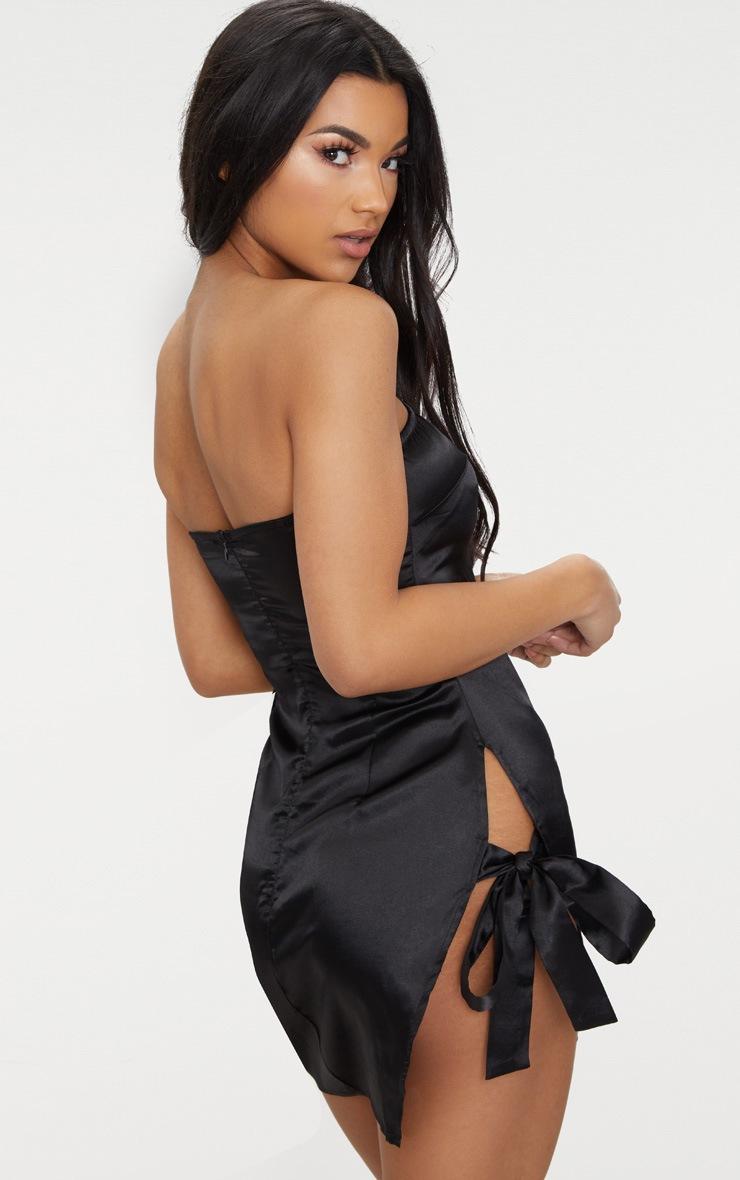 Black Satin Bandeau Extreme Split Bodycon Dress 2