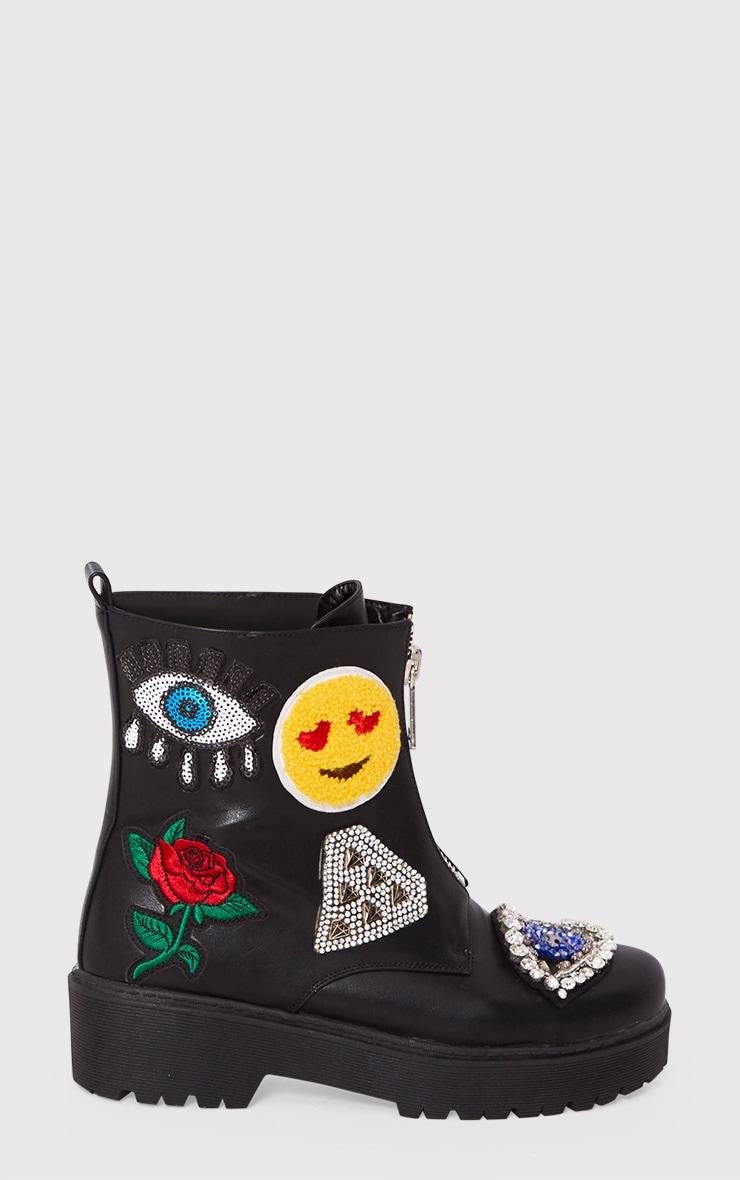 Carinia Black Applique Ankle Boots 6