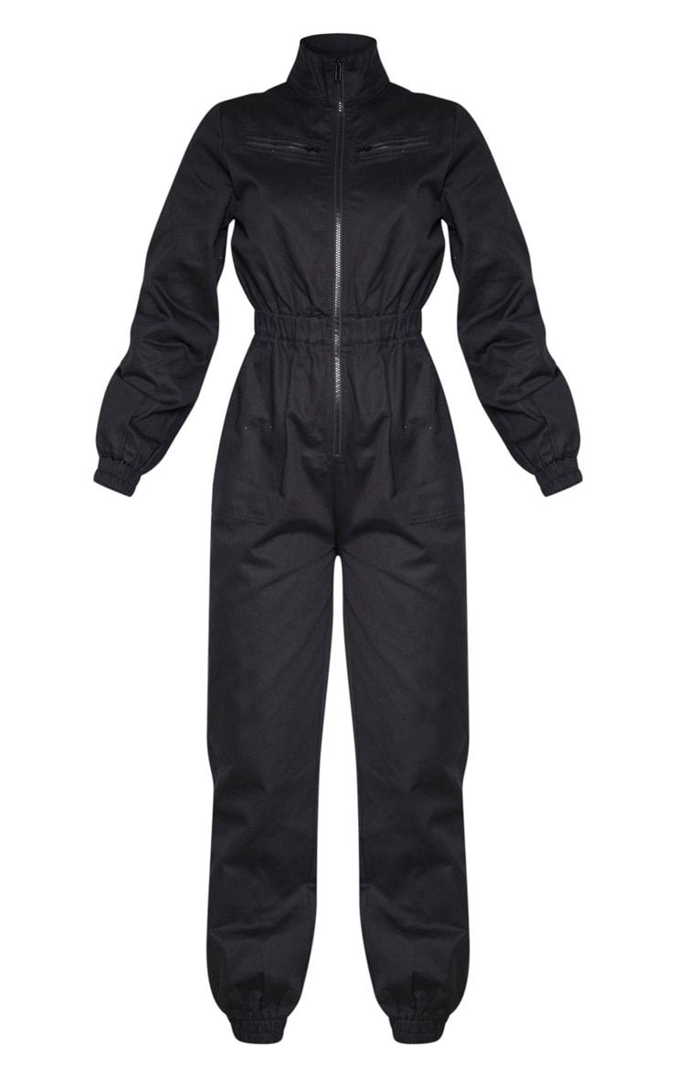 Black Boiler Contrast Zip Jumpsuit 3