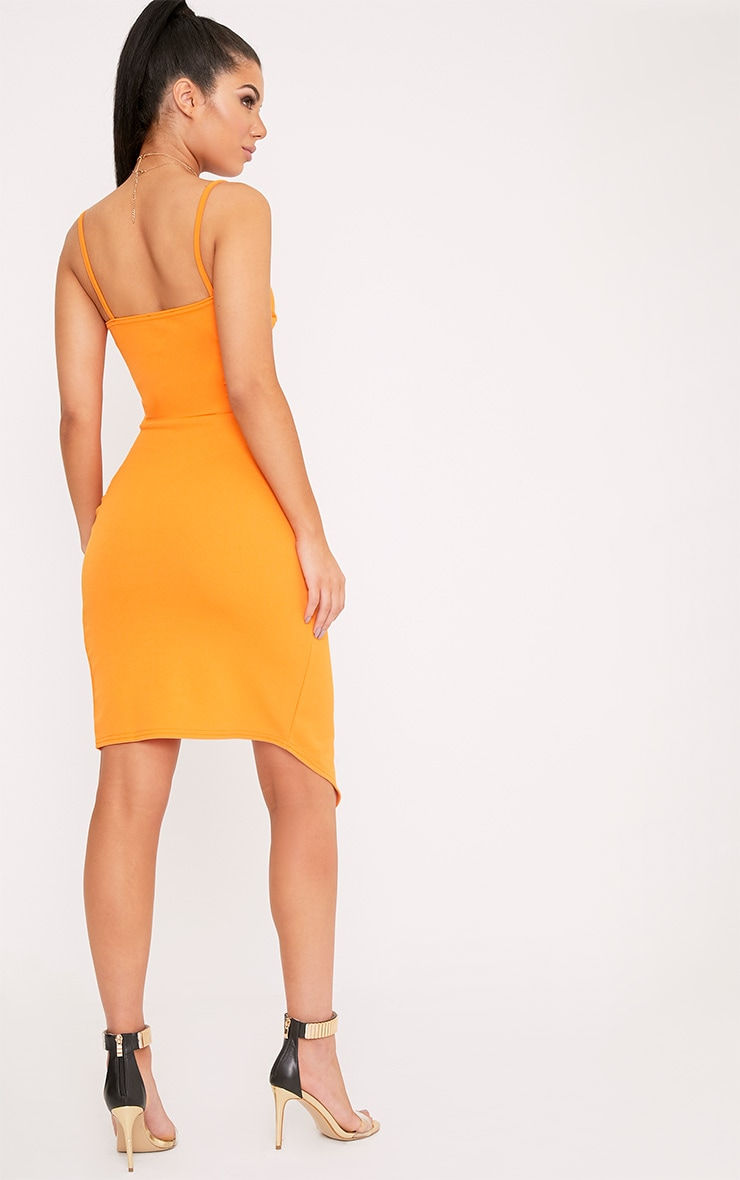 Lauriell Bright Orange Wrap Front Crepe Midi Dress 2