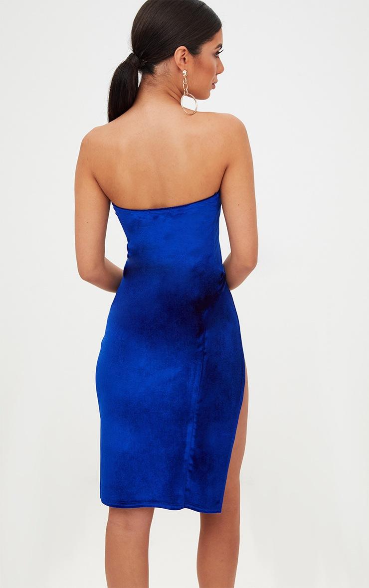 Cobalt Velvet Extreme Split Bandeau Midi Dress 2