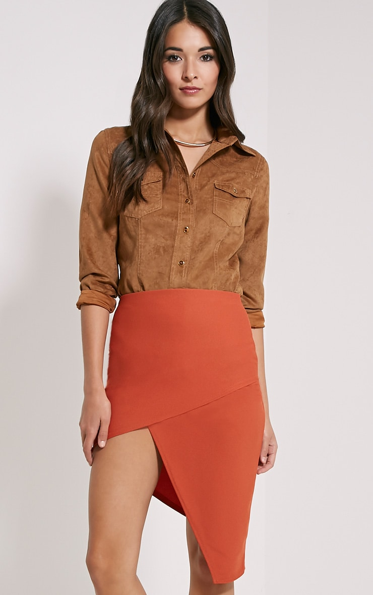 Libby Rust Asymmetric Mini Skirt 1