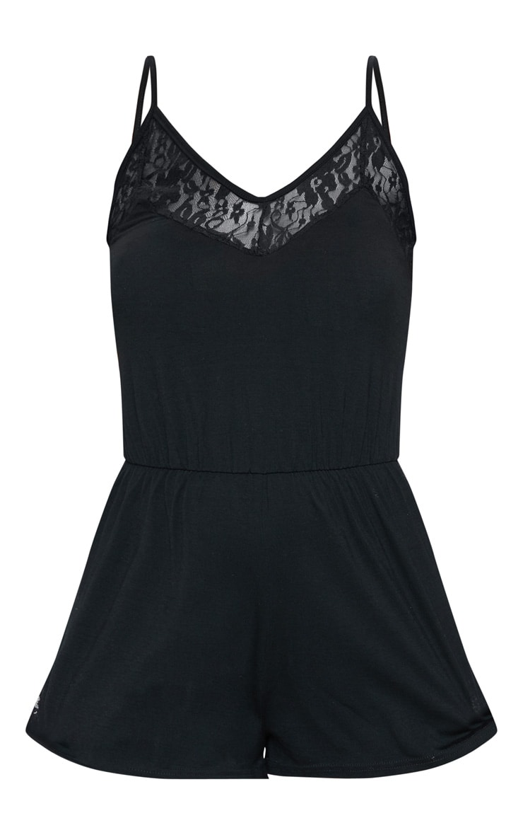 Black Lace Panel Jersey Teddy 3