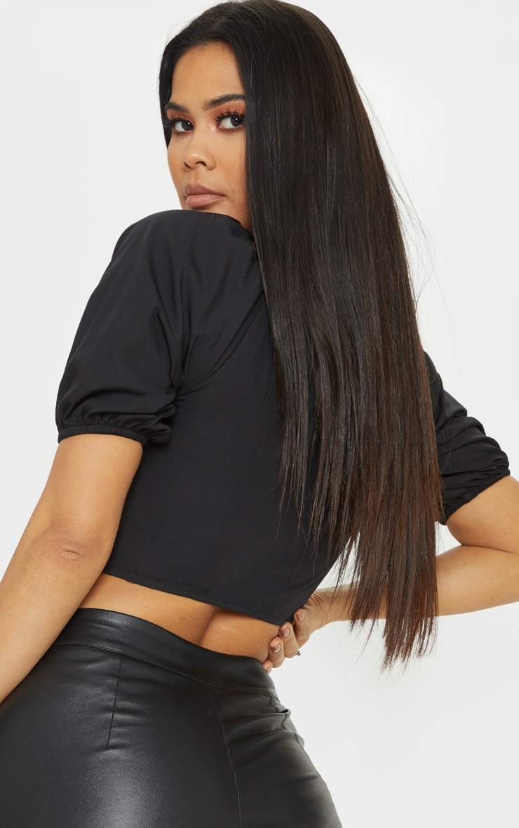Black Zip Front Puff Sleeve Crop Top 2