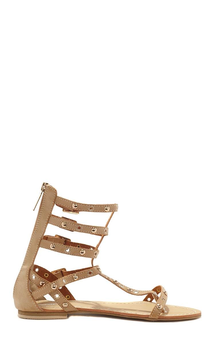 Sylvie Beige Studded Strap Sandals 4