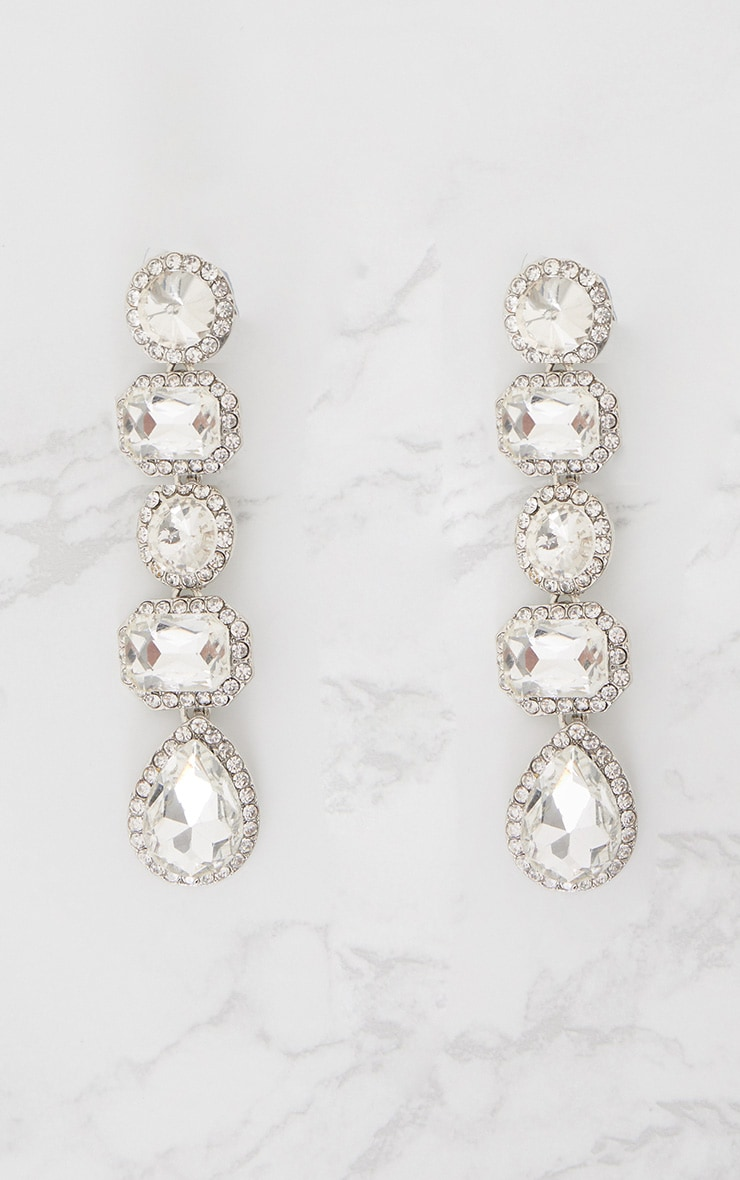 Silver Chunky Diamante Line Drop Earrings 3
