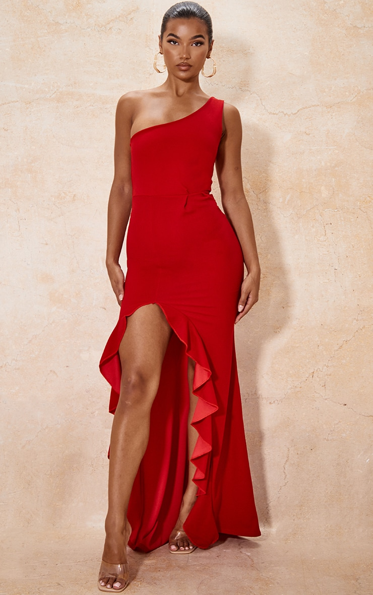 Red One Shoulder Ruffle Hem Maxi Dress 1