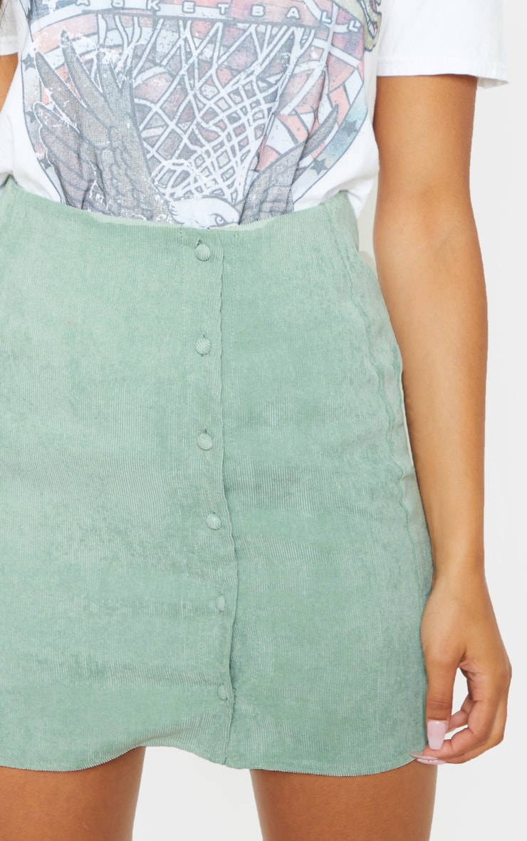 Mint Side Button Up Cord Mini Skirt 6