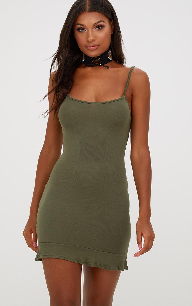 Khaki Frill Hem Bodycon Dress 1
