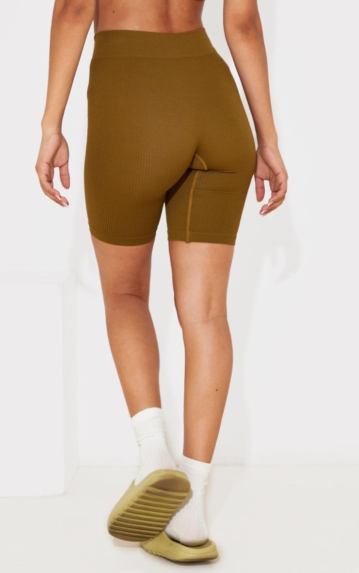 Petite Olive Contour Rib Seamless Bike Shorts 3