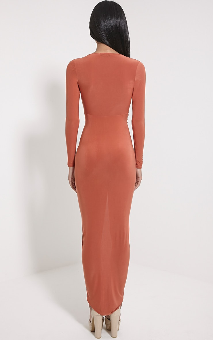 Ellie Rust Slinky Ruched Maxi Dress 2