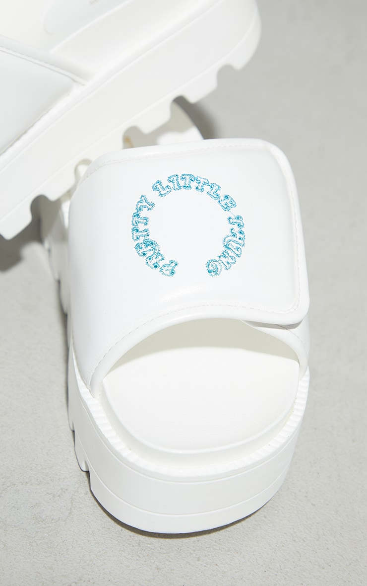 PRETTYLITTLETHING White Velcro Chunky Mule Sandals 4