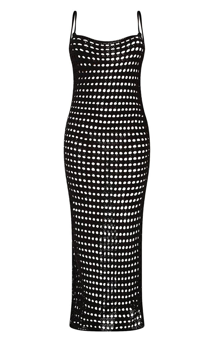 Black Strappy Crochet Maxi Dress 5