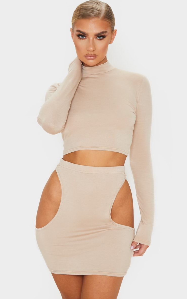 Stone Jersey Cut Out Side Mini Skirt 4