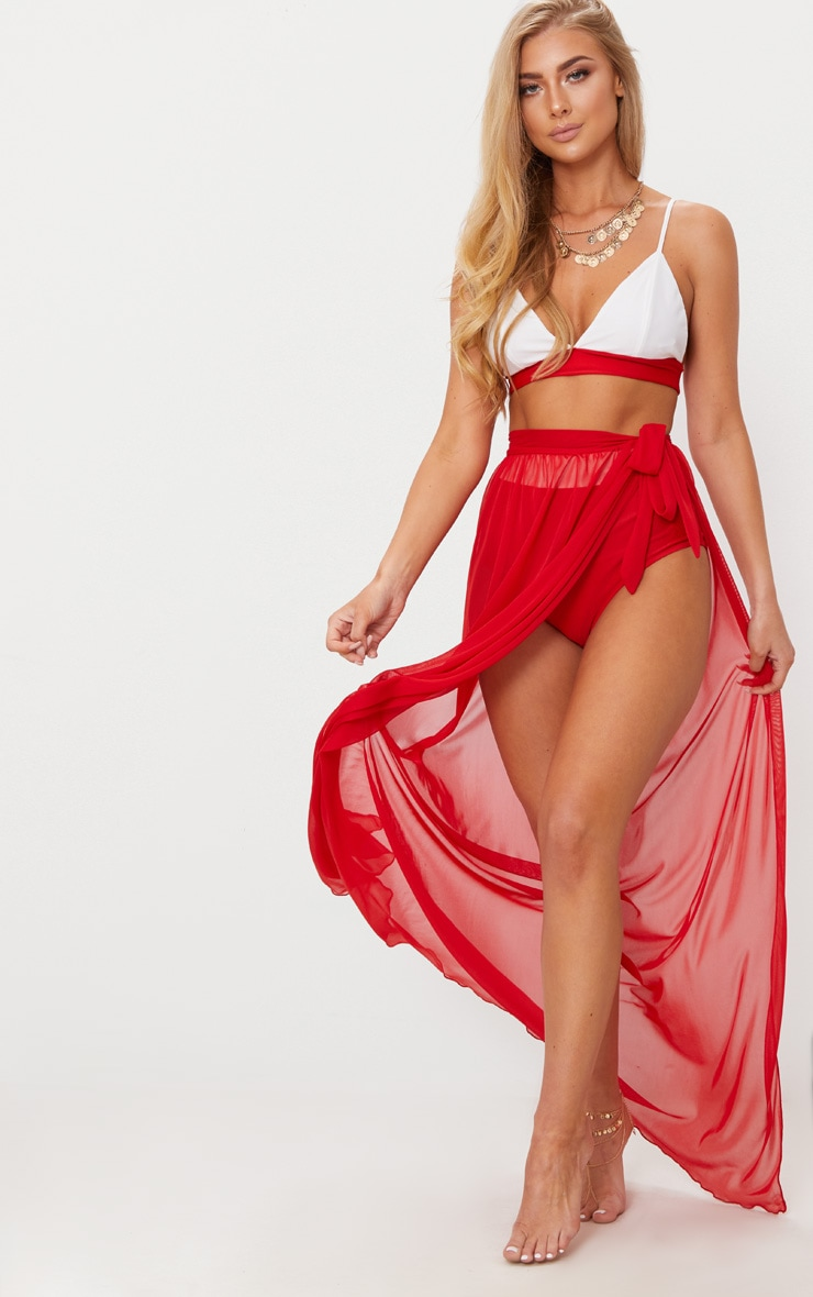 Red Tie Side Maxi Beach Skirt