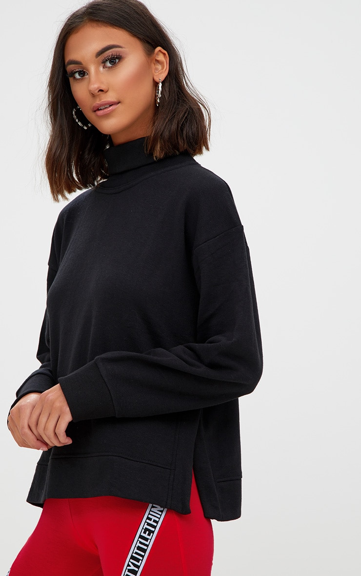 Black High Neck Oversized Longsleeve Sweater 1