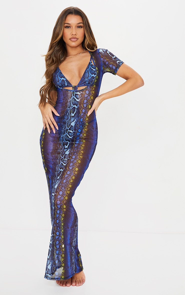Blue Snake Scoop Neck Mesh Maxi Dress
