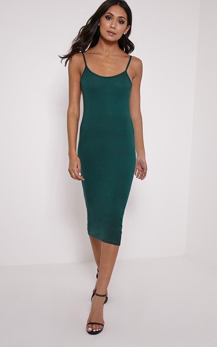 Basic Dark Green Midi Vest Dress 1