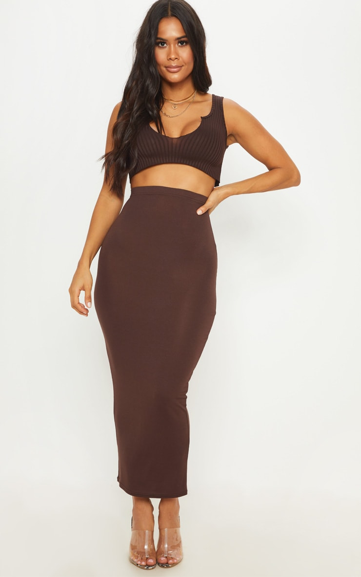 Chocolate Basic Maxi Skirt 1
