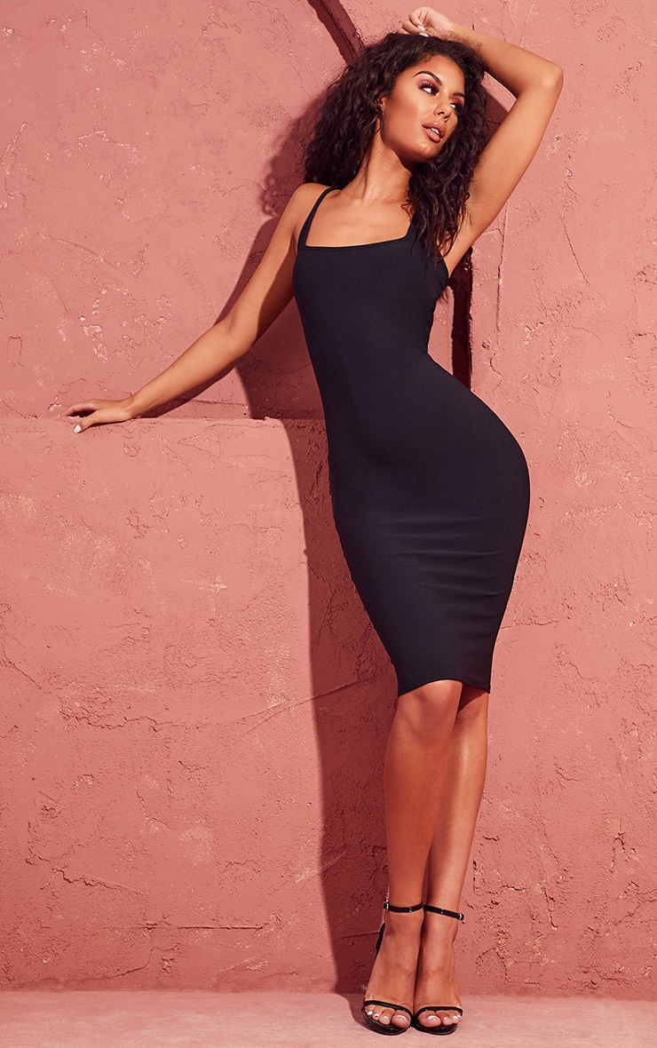 Black Square Neck Strappy Midi Dress 1