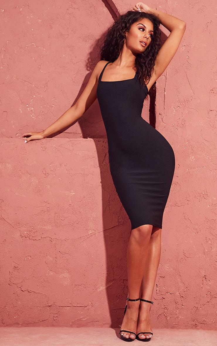 Black Square Neck Strappy Midi Dress