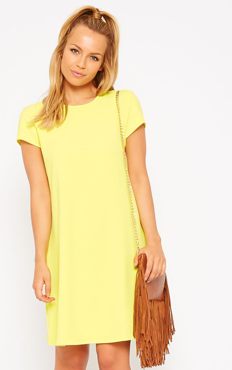 Sabra Yellow Waffle Loose Fit Shift Dress 4