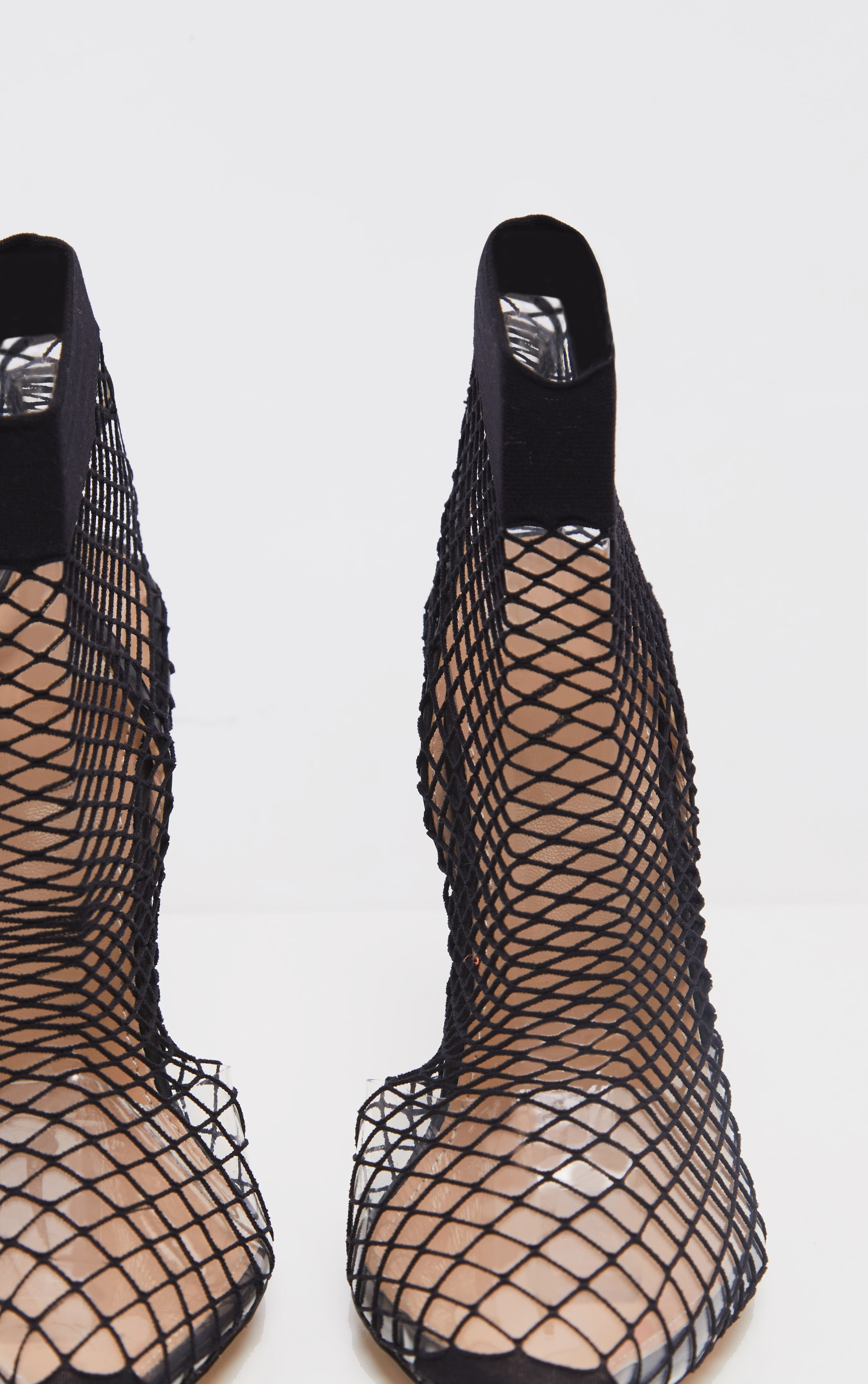 Black Fishnet Slingback Pointed Toe Heels 3