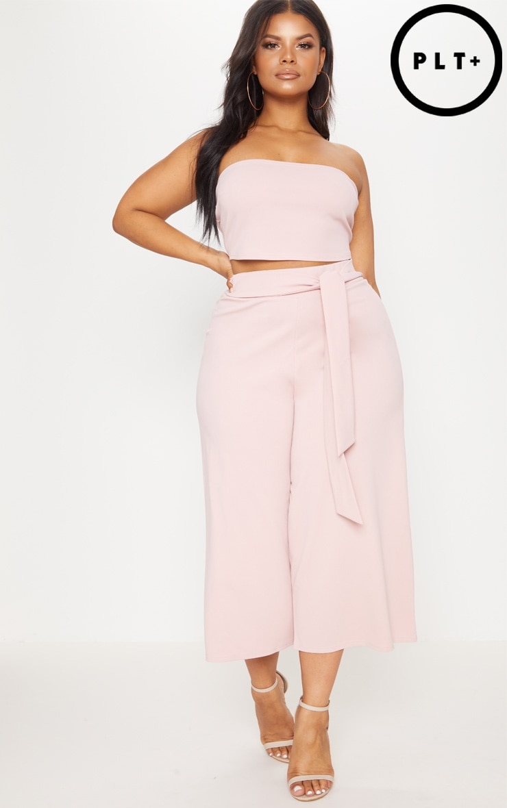 Plus Dusty Pink Tie Waist Culottes