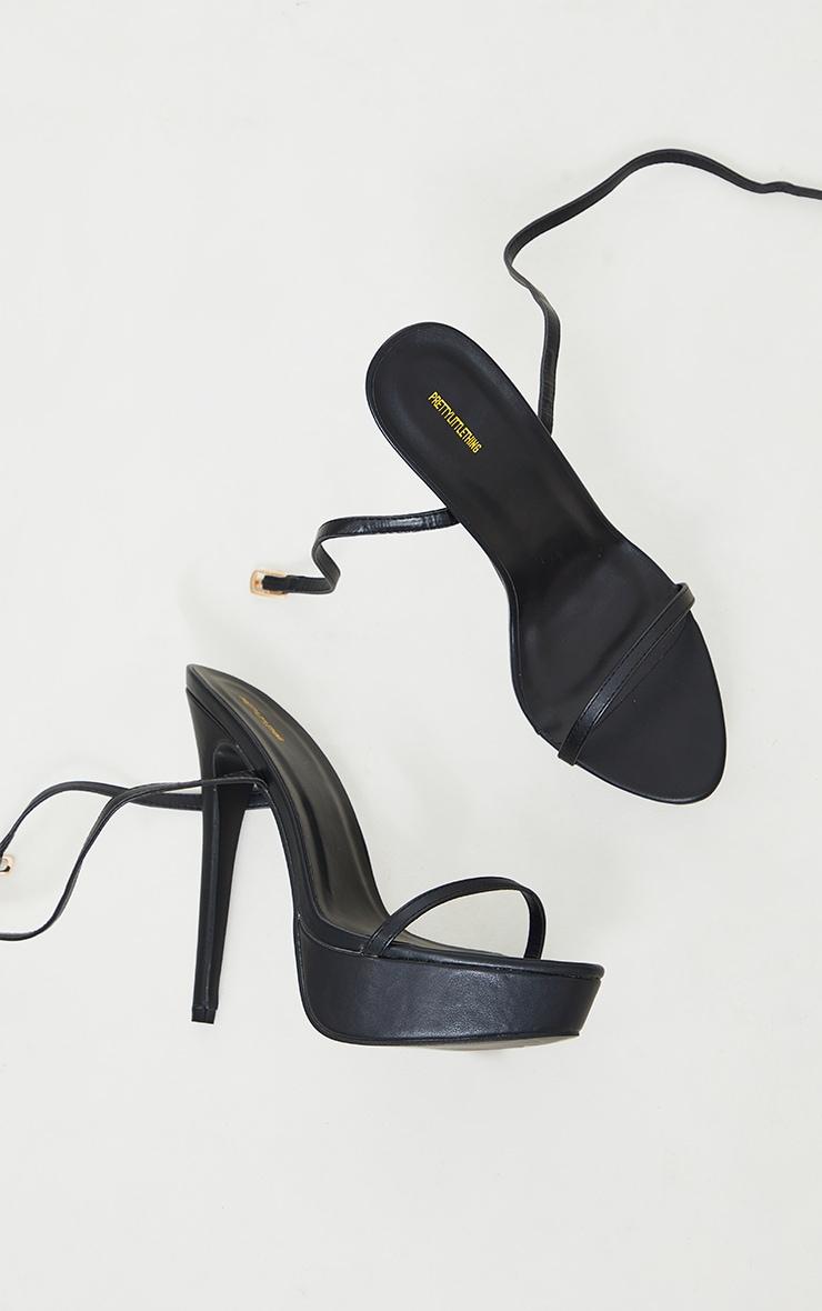 Black Wide Fit PU Platform Strappy High Heels 4