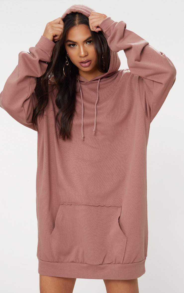 Dark Mauve Oversized Hoodie Dress 1